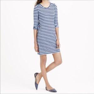 J Crew Navy Blue striped t shirt dress M zipper